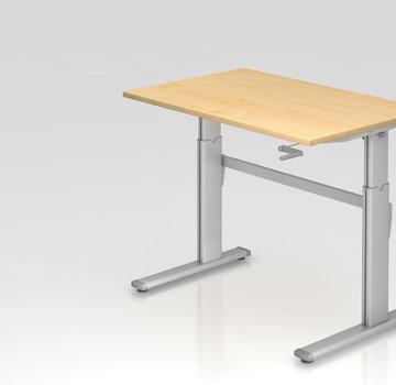 Serie HB Schreibtisch XK  120 x 80 cm in Silber Kurbelantrieb
