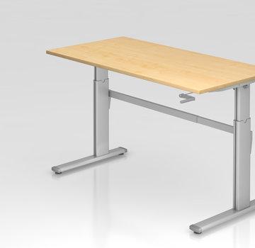 Serie HB Schreibtisch XK 160 x 80 cm in Silber Kurbelantrieb