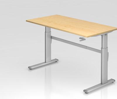 Serie HB - Schrank- und Tischkombination für Büro oder Praxis  Schreibtisch XK 160 x 80 cm in Silber und in 7 Farbvarianten