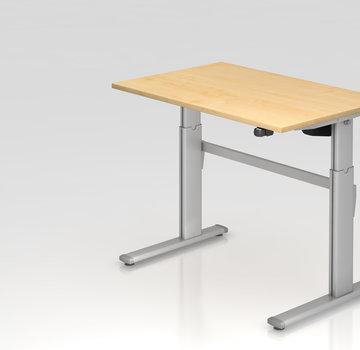 Serie HB Schreibtisch XM 120 x 80 cm in Silber mit Elekroantrieb
