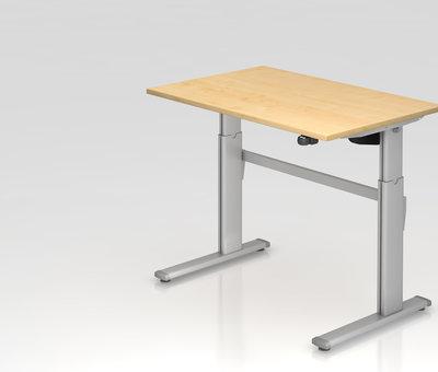Serie HB Schreibtisch XM 120 x 80 cm in Silber und in 7 Farbvarianten mit Elektroantrieb