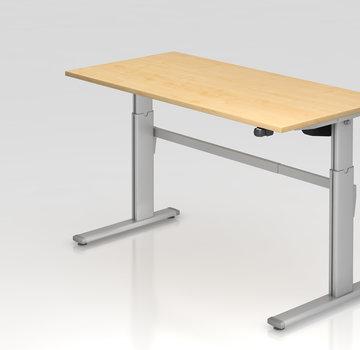 Serie HB Schreibtisch XM 160 x 80 cm in Silber mit Elekroantrieb