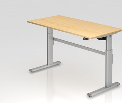 Serie HB Schreibtisch XM 160 x 80 cm in Silber und in 7 Farbvarianten mit Elektroantrieb