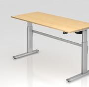Serie HB - Schrank- und Tischkombination für Büro oder Praxis  Schreibtisch XM 180 x 80 cm in Silber mit Elekroantrieb