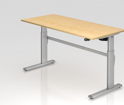 Serie HB - Schrank- und Tischkombination für Büro oder Praxis  Schreibtisch XM 180 x 80 cm in Silber und in 7 Farbvarianten mit Elektroantrieb
