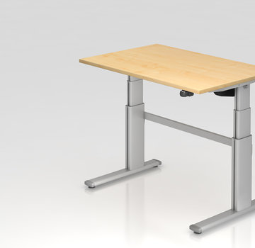 Serie HB Schreibtisch XD 120 x 80 cm in Silber mit Elekroantrieb