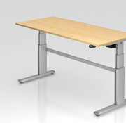 Serie HB - Schrank- und Tischkombination für Büro oder Praxis  Schreibtisch XD 180 x 80 cm in Silber mit Elekroantrieb