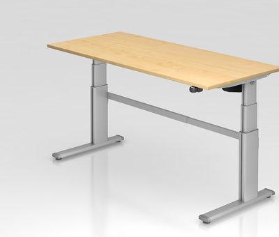 Serie HB - Schrank- und Tischkombination für Büro oder Praxis  Schreibtisch XD 180 x 80 cm in Silber und in 7 Farbvarianten mit Elektroantrieb