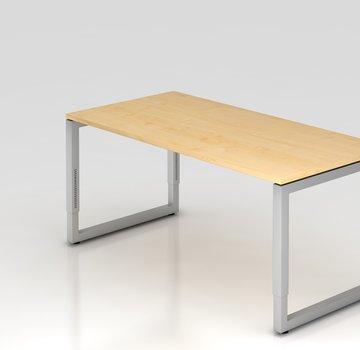 Serie HB Schreibtisch Q 160 x 80 cm in Silber im Raster höhenverstellbar
