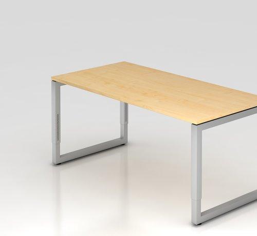 Serie HB Schreibtisch Q 160 x 80 cm in Silber im Raster höhenverstellbarund in 7 Farbvarianten