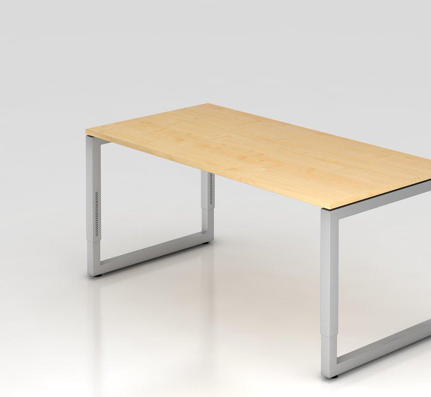 Schreibtisch Q 160 x 80 cm in Silber im Raster höhenverstellbarund in 7 Farbvarianten