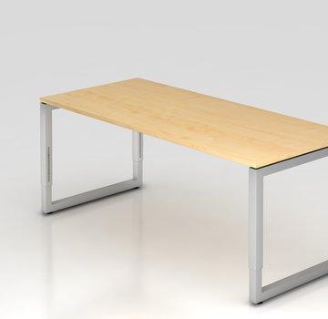 Serie HB Schreibtisch Q 180 x 80 cm in Silber im Raster höhenverstellbar