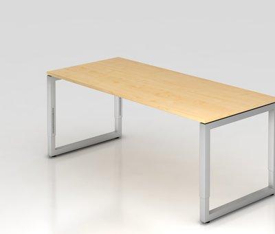 Serie HB - Schrank- und Tischkombination für Büro oder Praxis  Schreibtisch Q 180 x 80 cm in Silber im Raster höhenverstellbarund in 7 Farbvarianten