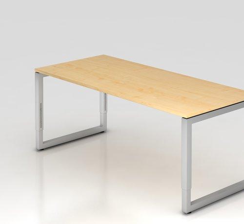 Serie HB Schreibtisch Q 180 x 80 cm in Silber im Raster höhenverstellbar und in 7 Farbvarianten