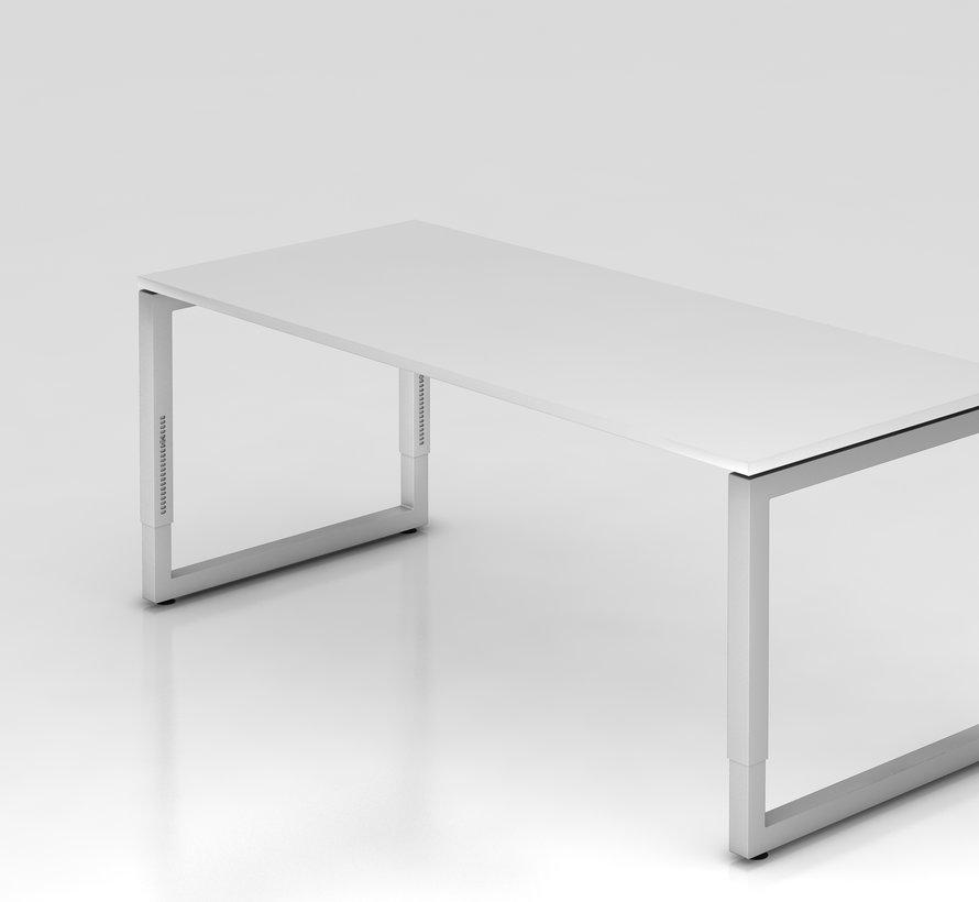 Schreibtisch Q 180 x 80 cm in Silber im Raster höhenverstellbarund in 7 Farbvarianten