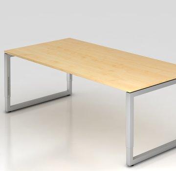 Serie HB Schreibtisch Q 200 x 100 cm in Silber im Raster höhenverstellbar