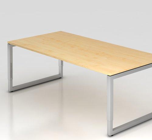 Serie HB Schreibtisch Q 200 x 100 cm in Silber im Raster höhenverstellbar und in 7 Farbvarianten