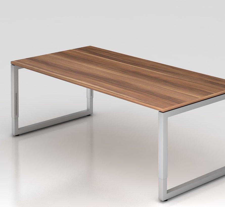 Schreibtisch Q 200 x 100 cm in Silber im Raster höhenverstellbar und in 7 Farbvarianten