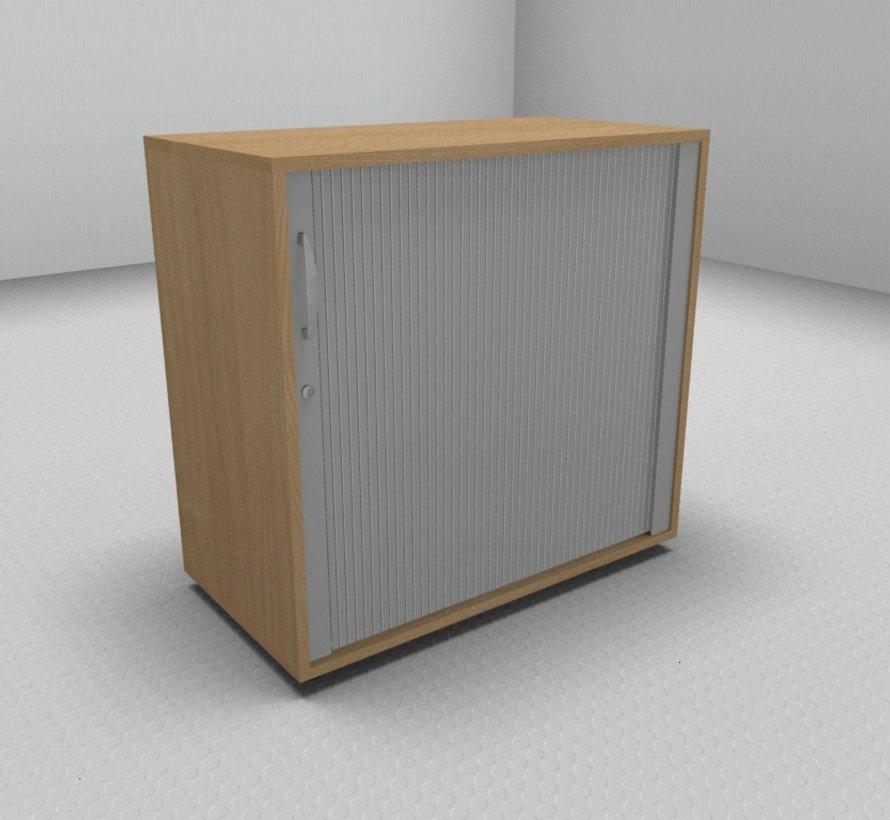 Hochwertiger Querrollladenschrank mit 2 Ordnerhöhen, 80cm breit  - Rollladen in silbergrau