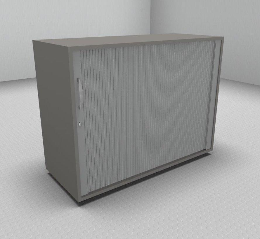 Hochwertiger Querrollladenschrank mit 2 Ordnerhöhen, 100cm breit  - Rollladen in silbergrau