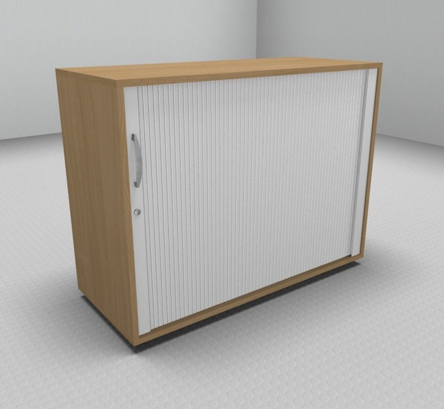 Hochwertiger Querrollladenschrank mit 2 Ordnerhöhen und Rollladen in weiß, 100cm breit