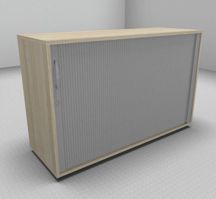 Hochwertiger Querrollladenschrank mit 2 Ordnerhöhen, 120cm breit  - Rollladen in silbergrau