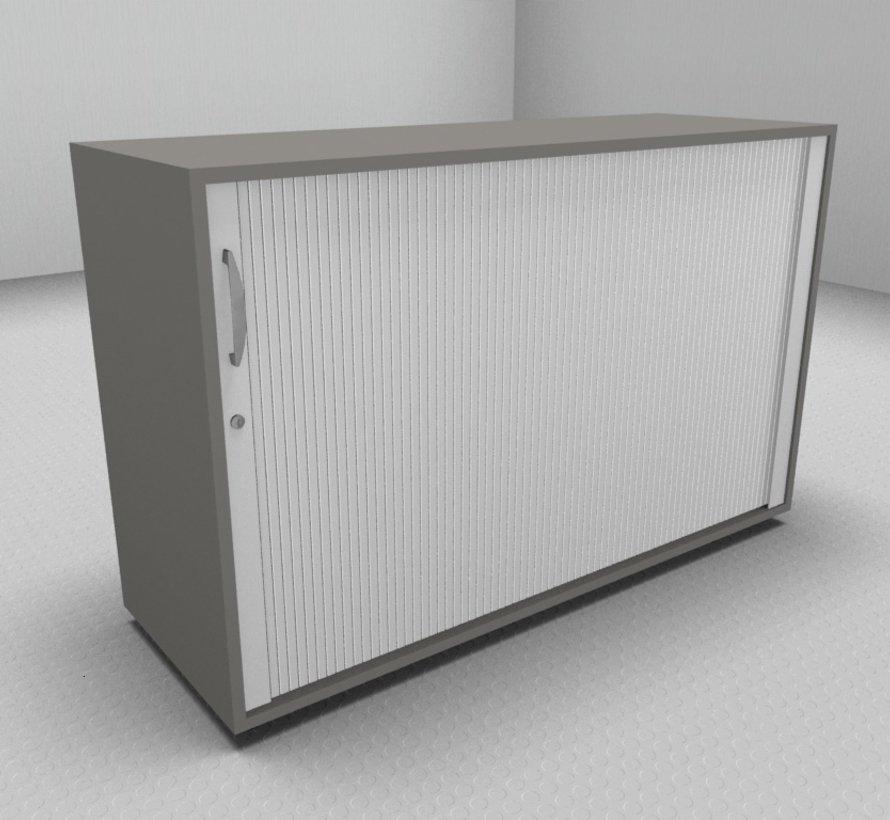 Hochwertiger Querrollladenschrank mit 2 Ordnerhöhen und Rollladen in weiß, 120cm breit