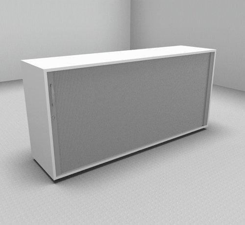 Serie MA  Hochwertiger Querrollladenschrank mit 2 Ordnerhöhen, 160cm breit  - Rollladen in silbergrau