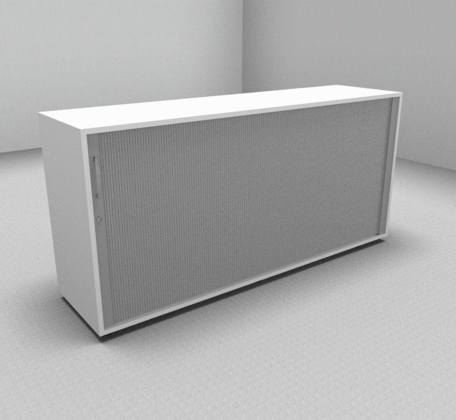Hochwertiger Querrollladenschrank mit 2 Ordnerhöhen, 160cm breit  - Rollladen in silbergrau