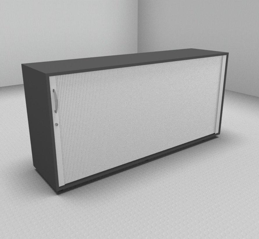 Hochwertiger Querrollladenschrank mit 2 Ordnerhöhen und Rollladen in weiß, 160cm breit