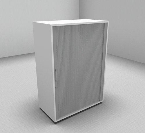 Serie MA - Empfangstheken für Ihren Empfangsbereich Hochwertiger Querrollladenschrank mit 3 Ordnerhöhen, 80cm breit  - Rollladen in silbergrau