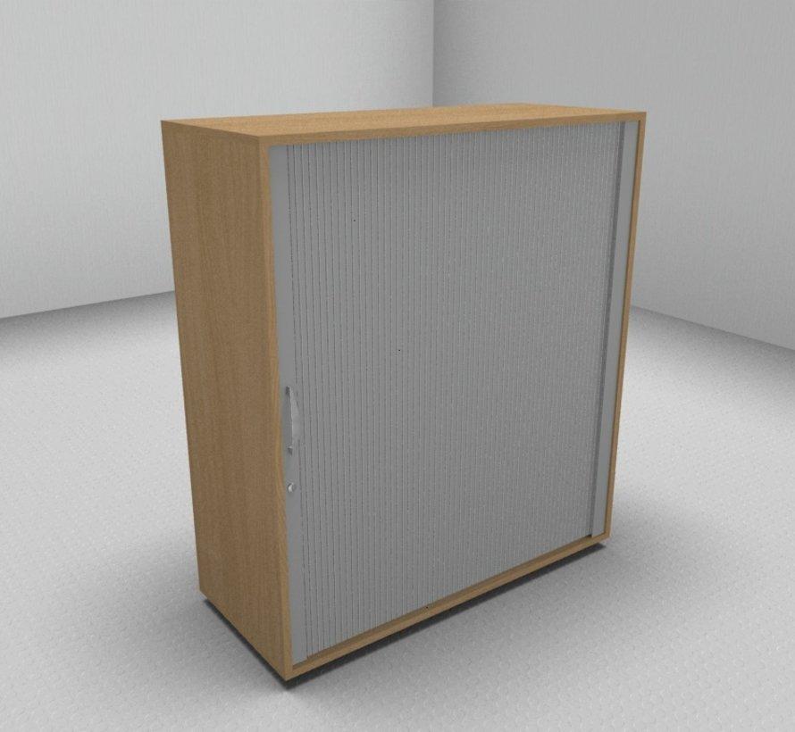Hochwertiger Querrollladenschrank mit 3 Ordnerhöhen, 100cm breit  - Rollladen in silbergrau