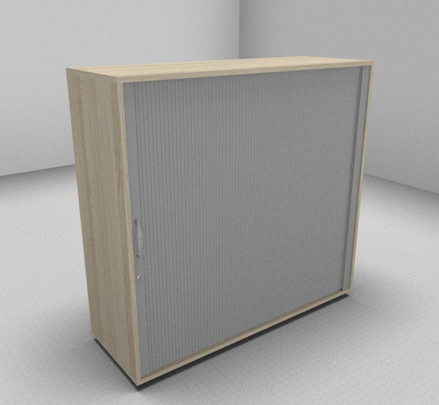 Hochwertiger Querrollladenschrank mit 3 Ordnerhöhen, 120cm breit  - Rollladen in silbergrau