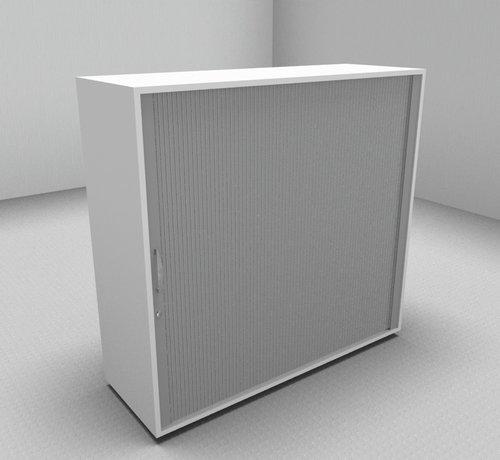 Serie MA Hochwertiger Querrollladenschrank mit 3 Ordnerhöhen, 120cm breit  - Rollladen in silbergrau