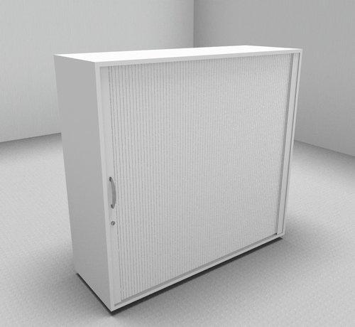 Serie MA Hochwertiger Querrollladenschrank mit 3 Ordnerhöhen und Rollladen in weiß, 120cm breit