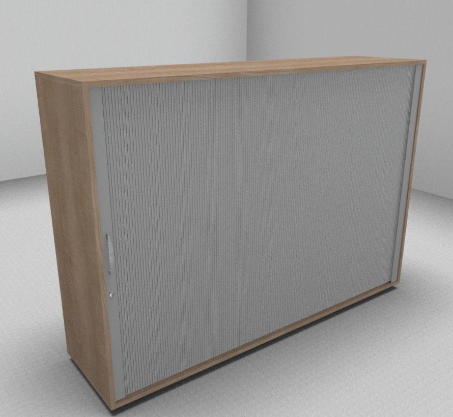 Hochwertiger Querrollladenschrank mit 3 Ordnerhöhen, 160cm breit  - Rollladen in silbergrau