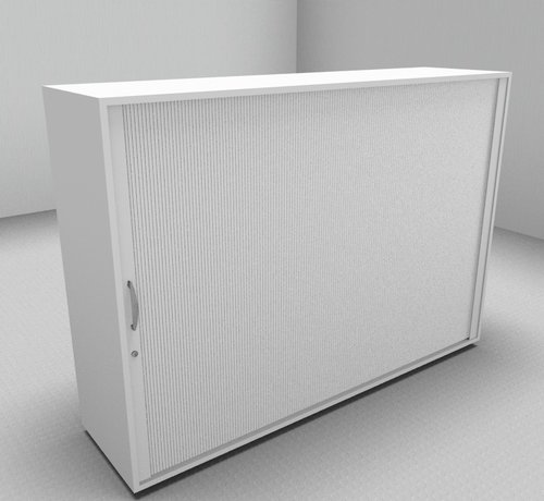 Serie MA  Hochwertiger Querrollladenschrank mit 3 Ordnerhöhen und Rollladen in weiß, 160cm breit