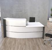 Serie KE - Erweiterbare Tresen Kombinationen für Ihren Empfangsbereich Empfangstheke BAKU Bogenform mit Beraterplatz - 229 cm