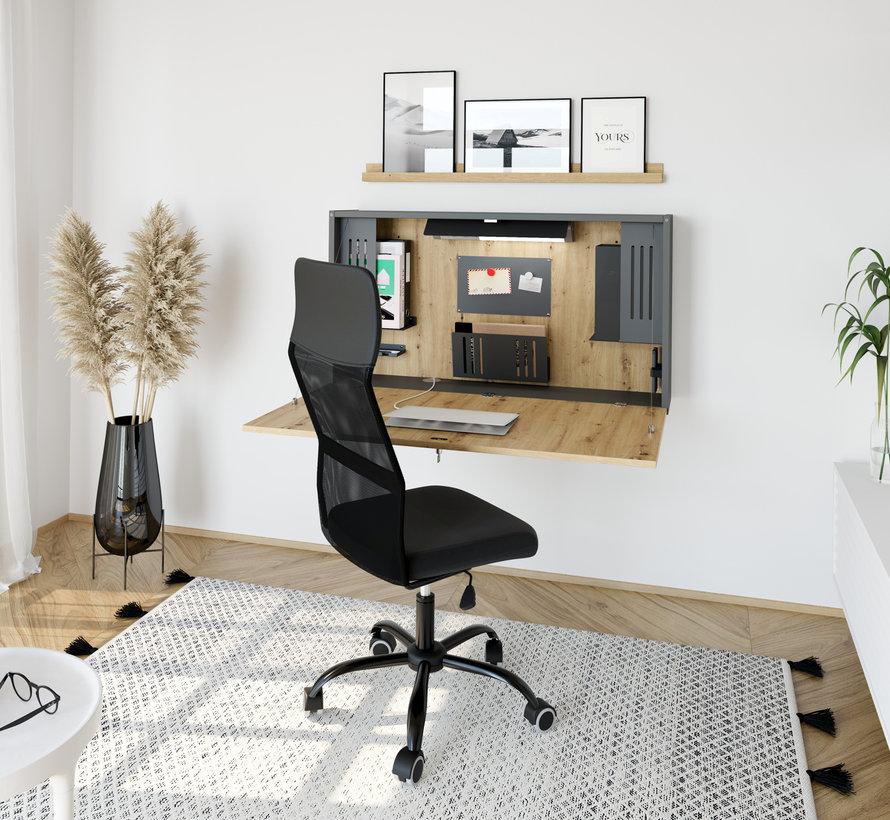 Wandschreibtisch als Mini Office mit viel Zubehör