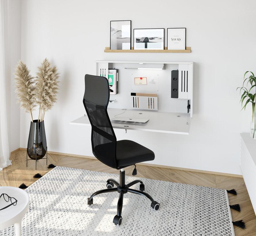 Wandschreibtisch als Mini Home Office mit viel Zubehör