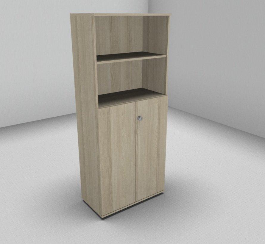 Hochwertiger Drehtürenschrank mit 5 Ordnerhöhen, 8 0cm breit mit offenem Regal oben 2 OH