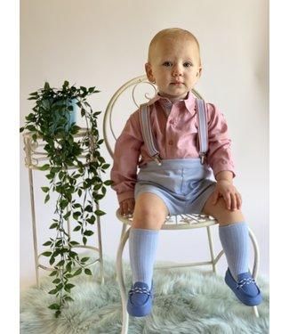 Dolce Petit 3 delige set met roze hemd & lichtblauwe short
