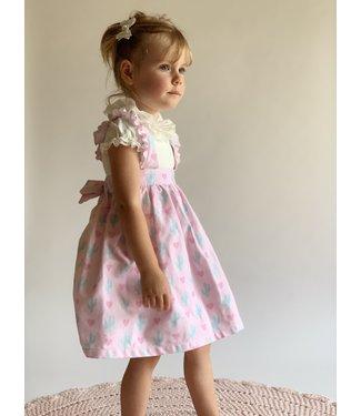 Phi clothing  Roze jurk met cactusprint 2Y