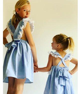 Fina Ejerique Blauwe jurk met witte franjes