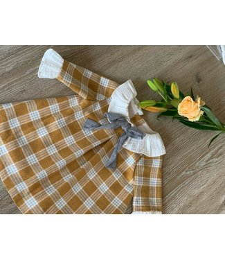 Fina Ejerique MUSTARD YELLOW & WHITE & GREY CHECKED FRILLED BOW DRESS
