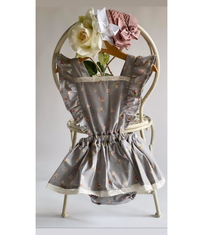la petite blossom Grey romper dress grace