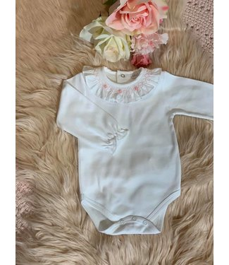Laivicar Laivicar body lange mouwen en smock kraagje met roze geborduurde bloemen 1M
