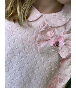 Dolce Petit Dolce Aela jurkje roze jacquard met peterpan kraagje Ayla 10Y