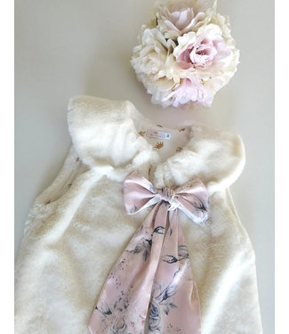 Be Chic Ivoor fur vest PINK bow