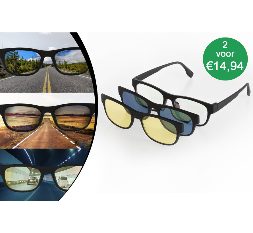 3-in-1 Wayfarer Zonnebril | Nachtzicht, UV-bescherming en Extra Helderheid